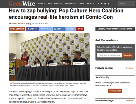 Comic-Con 2015 Pop Culture Hero Coalition coverage up at GeekWire