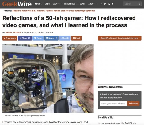 Reflections of a 50-ish gamer: How I rediscovered video games, and what I learned in the process now up at GeekWire