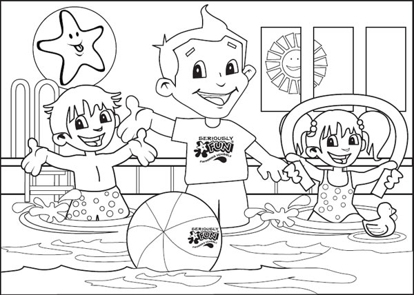 Swimming Pool Kids Cute Coloring Pages Sketch Coloring Page