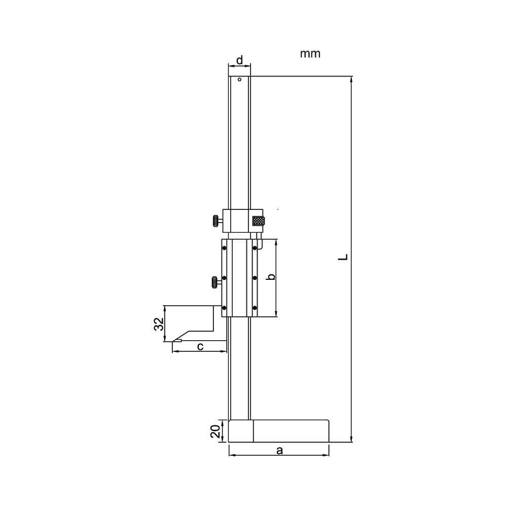 Mini vernier height gage Accud – Cod. 187-000-11