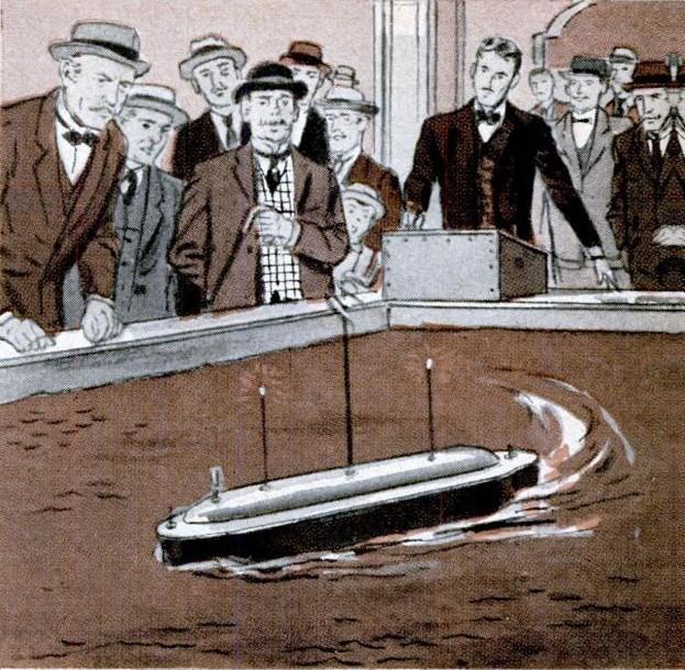 Reprodução da apresentação de um barco controlado por ondas de rádio desenvolvido por tesla