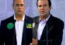 Wilson Witzel (PSC) e Eduardo Paes (DEM) trocam acusações em debate na Record - Reprodução/ Facebook