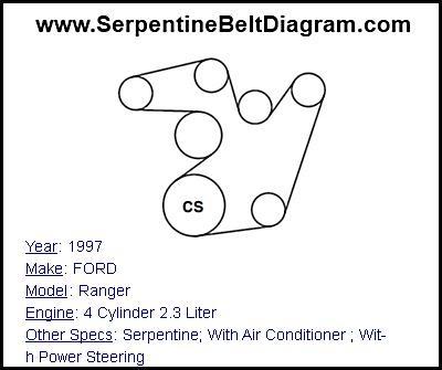 » 1997 FORD Ranger Serpentine Belt Diagram for 4 Cylinder