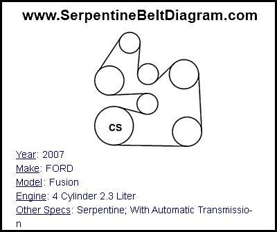 » 2007 FORD Fusion Serpentine Belt Diagram for 4 Cylinder