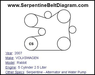 » 2007 VOLKSWAGEN Rabbit Serpentine Belt Diagram for 5