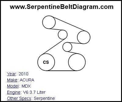» 2010 ACURA MDX Serpentine Belt Diagram for V6 3.7 Liter