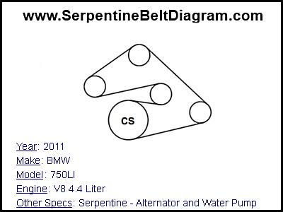 » 2011 BMW 750LI Serpentine Belt Diagram for V8 4.4 Liter