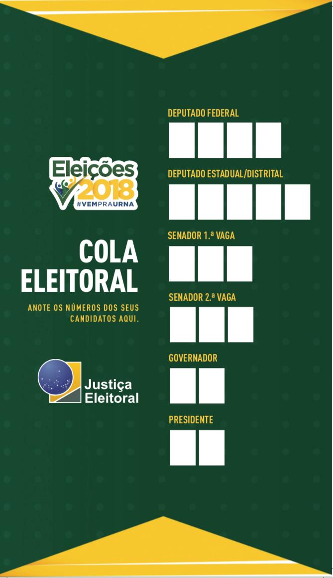 Resultado de imagem para cola eleitoral 2018