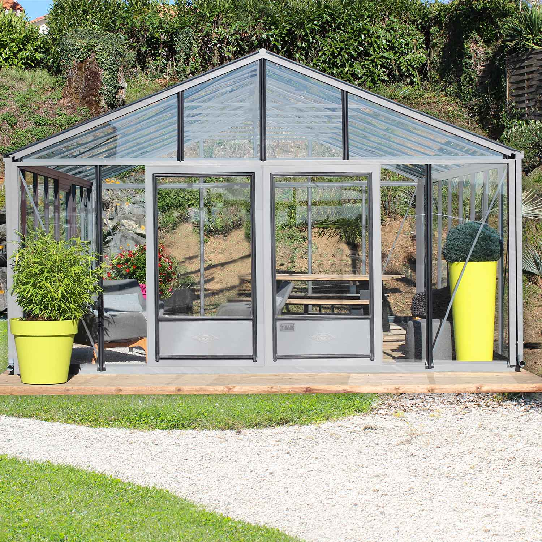 serre de jardin en verre trempe supra 31 20 m aluminium 8400 00 livraison comprise