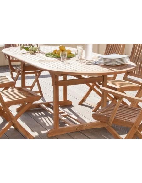 table de jardin hampton en teck fsc 160 220x90cm proloisirs