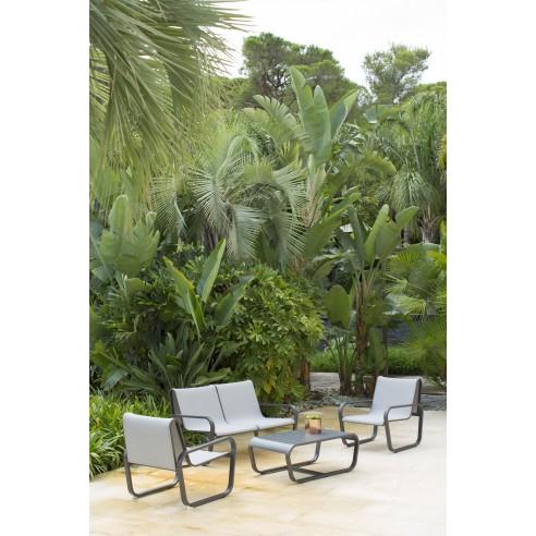 salon de jardin flex 4 places aluminium et pvc noir ou gris les jardins