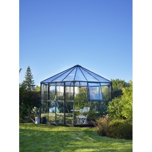 serre atrium halls 9 m laquee verte en verre trempe 3 mm