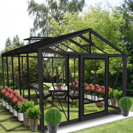 serre de jardin en verre trempe supra 12 m coloris ral au choix