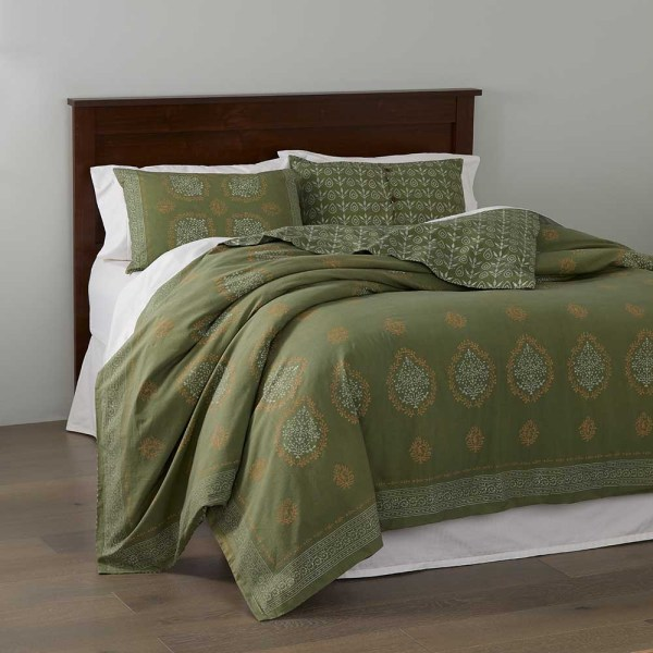 Block Print Mandala Bedding - Olive Green Serrv