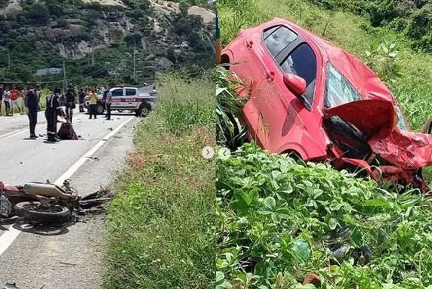 Acidente envolvendo um carro e uma moto deixa três mortos no Sertão