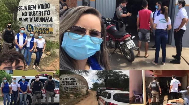Vigilância sanitária e Polícia Militar realizaram fiscalização em comércios, em Brejo dos Santos