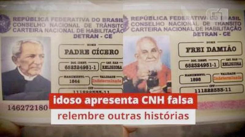 Polícia flagra idoso com 'habilitação' de Padre Cícero e Frei Damião