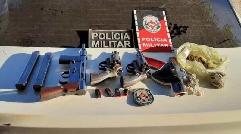 Polícia Militar prende acusado de tráfico de drogas em Uiraúna e apreende três armas de fogo