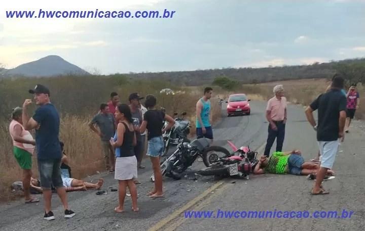 Colisão envolvendo duas motos na PB 338 em São Domingos, deixa servidor público do município de Pombal ferido