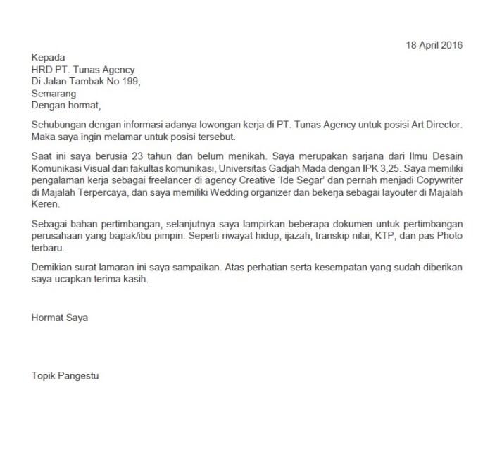 Surat lamaran kerja Art Director