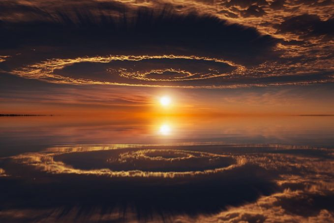 formasi awan dan matahari