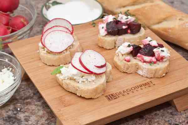 Radish Ricotta and Roasted Beet and Feta Crostini