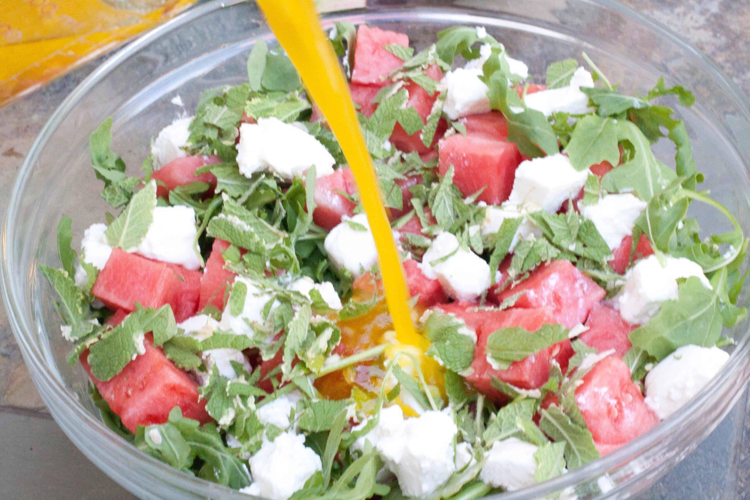 arugula watermelon feta salad served from scratch. Black Bedroom Furniture Sets. Home Design Ideas