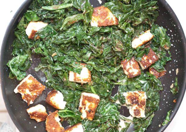 Kale Paneer with homemade Paneer