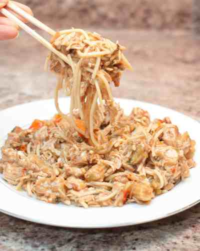 Crock Pot Chicken Chow Mein can be made right at home! It's so much easier (and cheaper) than getting take out but just as delicious!