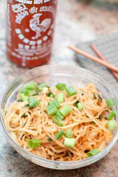Just 15 minutes and 6 ingredients is all you need for this super easy, flavorful, rice noodle side dish!