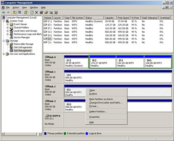 Partition magic Windows Server 2003