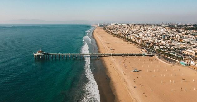 Aerial shot of Manhattan Beach Southern California