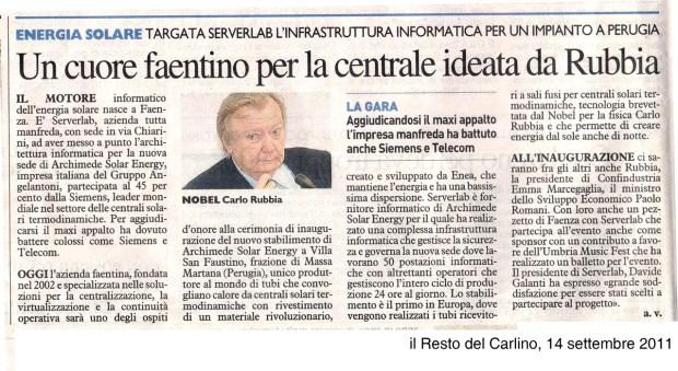 articolo del Resto del Carlino, 14 settembre 2011