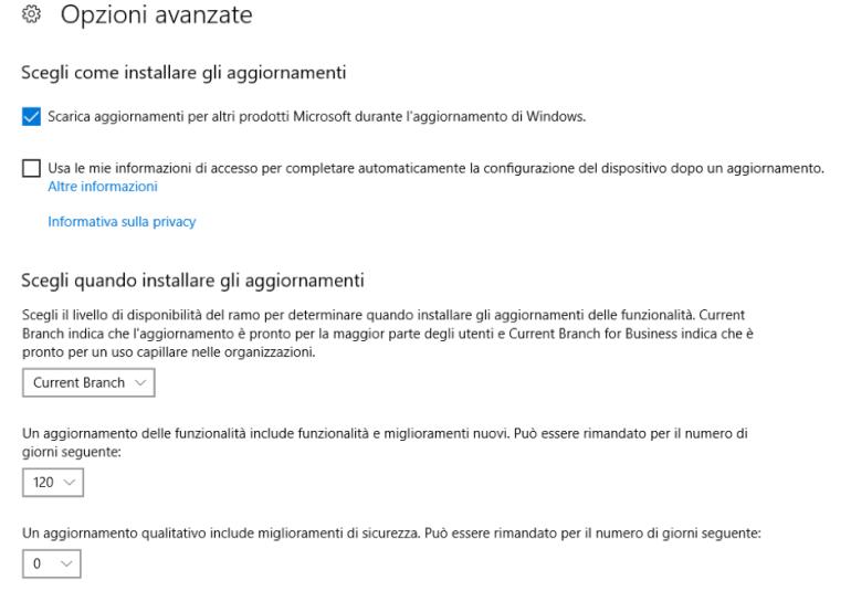 Windows 10 - update - Opzioni Avanzate