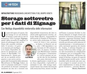 Storage sottovetro per i dati di Zignago - Il Mondo, 14 gennaio 2011