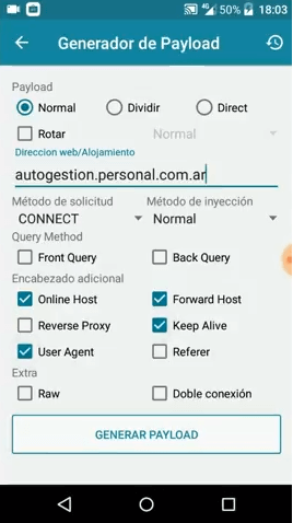 configurar payload personal argentina 2019