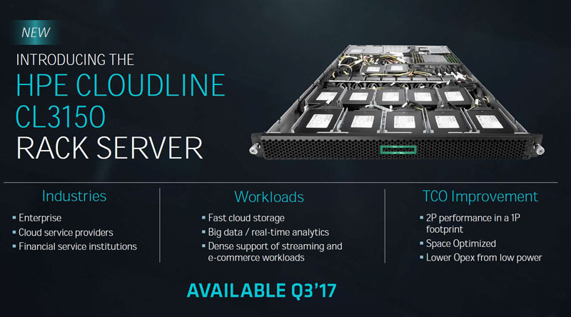 updated hpe cloudline cl3150 with amd epyc spotted at vmworld 2017