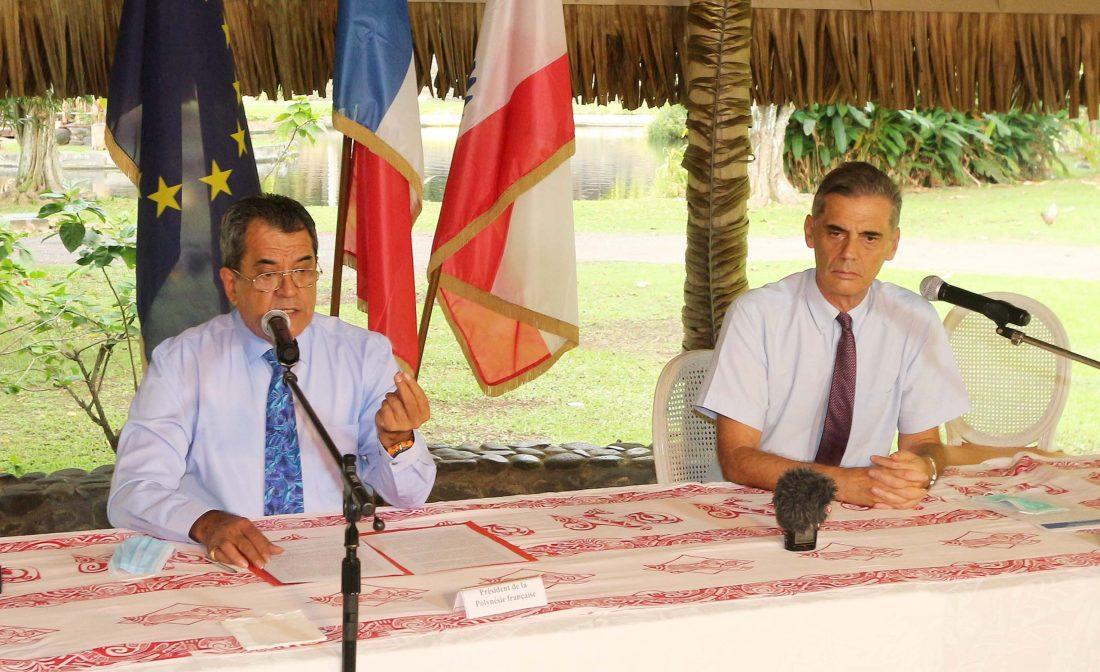 Photo allocution du président sur l'absence de cas COVID sur le Paul Gauguin