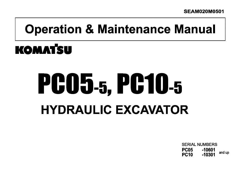 Komatsu PC05-5/ PC10-5 Hydraulic Excavator Operation