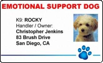 Service Dog Gear - Emotional Support Dog PVC ID Badge