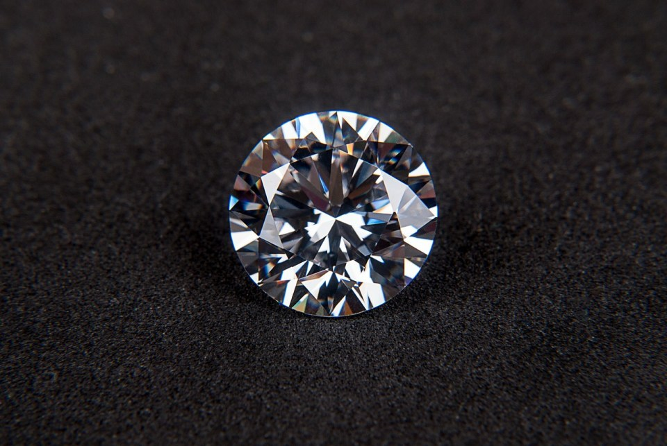 close up of round cut diamond