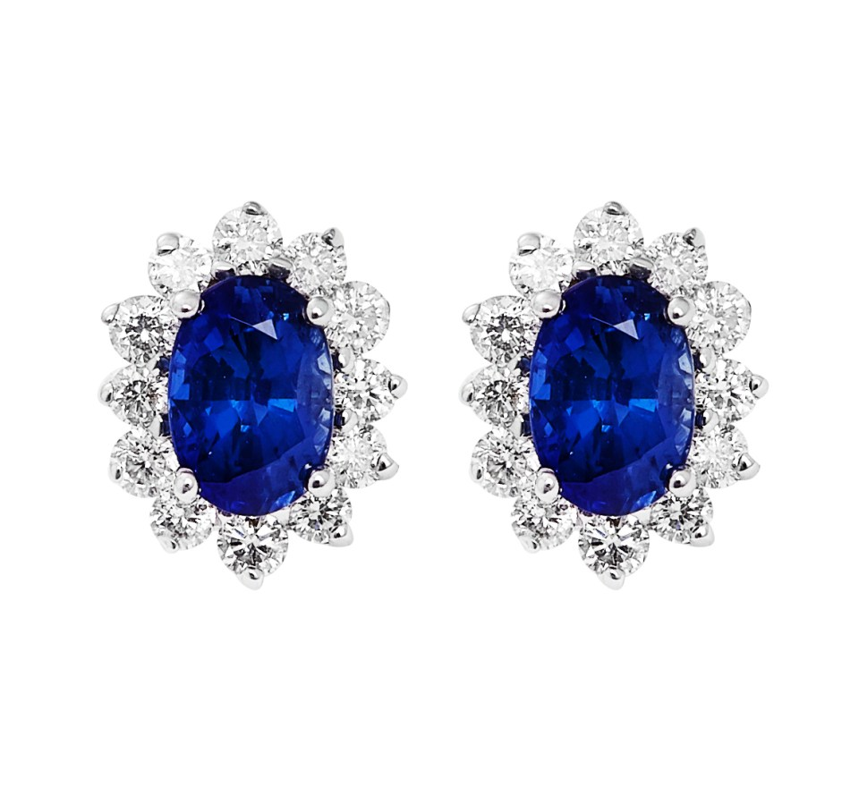 blue sapphire earrings with diamonds