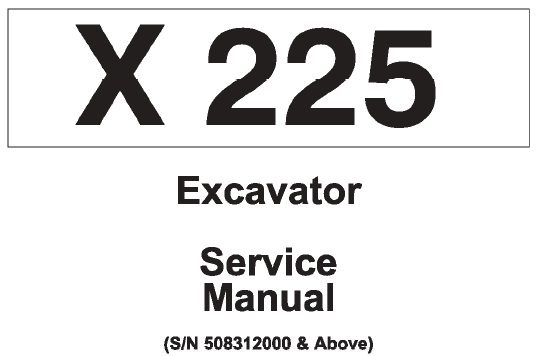 Bobcat X225 Hydraulic Excavator Service Repair Manual (S/N