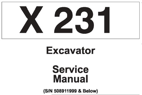 Bobcat X231 Hydraulic Excavator Service Repair Manual (S/N