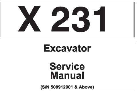 Bobcat X231 Hydraulic Excavator Service Repair Manual (S/N