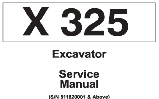 Bobcat X325 Hydraulic Excavator Service Repair Manual