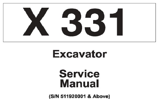 Bobcat X331 Hydraulic Excavator Service Repair Manual (S/N