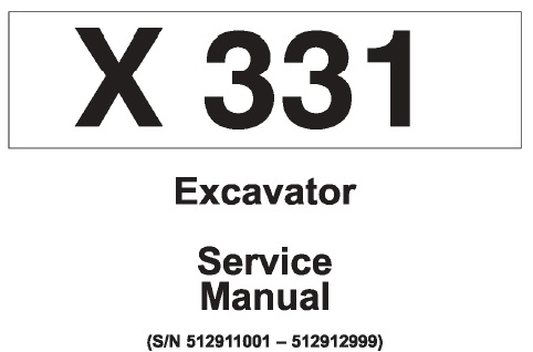 Bobcat X331 Hydraulic Excavator Service Repair Manual (S/N
