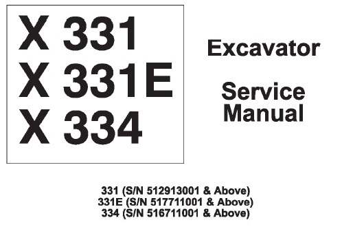 Bobcat X331, X331E, X334 Hydraulic Excavator Service