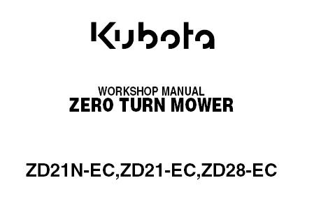 Kubota ZD21N-EC , ZD21-EC , ZD28-EC Tractor Service Repair